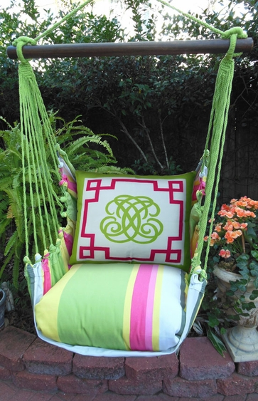 Fresh Lime Monogram Hammock Chair Swing Set - Click to enlarge