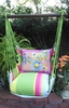 Fresh Lime Painterly Flowers Hammock Chair Swing Set