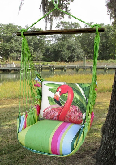 Fresh Lime Pink Flamingo Hammock Chair Swing Set - Click to enlarge