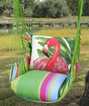 Fresh Lime Pink Flamingo Hammock Chair Swing Set