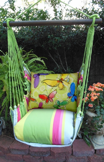 Fresh Lime Swirly Butterflies Hammock Chair Swing Set - Click to enlarge
