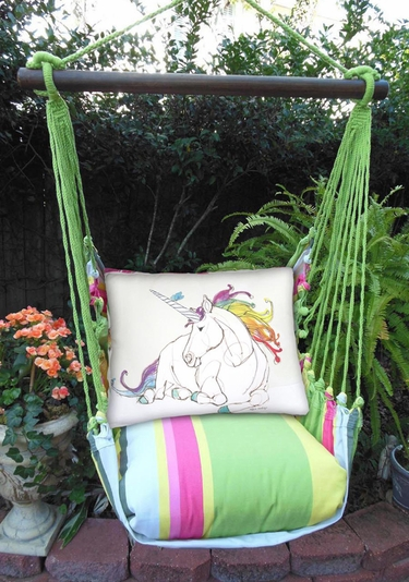 Fresh Lime Unicorn Dream Hammock Chair Swing Set - Click to enlarge