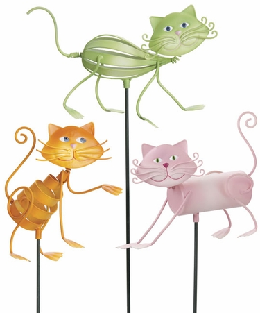 Genial Frisky Cat Garden Stakes (Set Of 3)