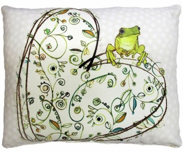 Frog on Heart Outdoor Pillow - Click to enlarge