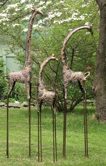 Frosted Metallic Gold & Silver Giraffes (Set of 3) - Click to enlarge