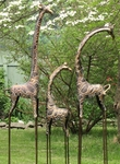 Frosted Metallic Gold & Silver Giraffes (Set of 3)
