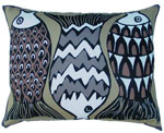 Funfish Brown Outdoor Pillow