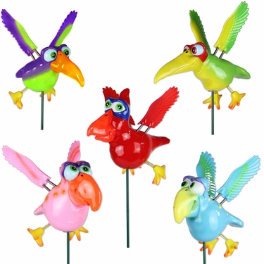Funny Birds Garden Stakes (Set of 6) - Click to enlarge