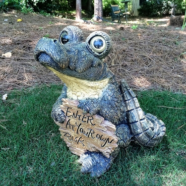 Alligator Statue w/Sign: Enter at your own Risk - Click to enlarge