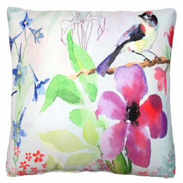 Garden Aviary - 1 Bird Outdoor Pillow - Click to enlarge