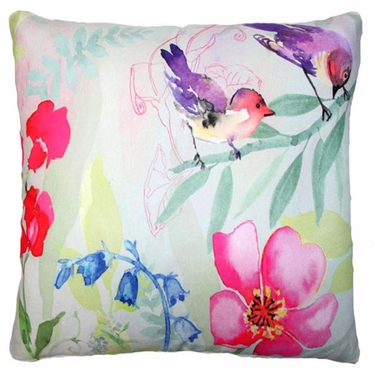 Garden Aviary - 2 Birds Outdoor Pillow - Click to enlarge