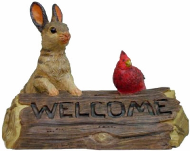 Garden Bunny & Cardinal Welcome - Click to enlarge