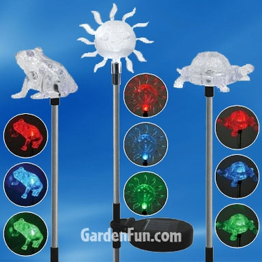 Garden Friends Solar Garden Stakes (Set of 3) - Click to enlarge
