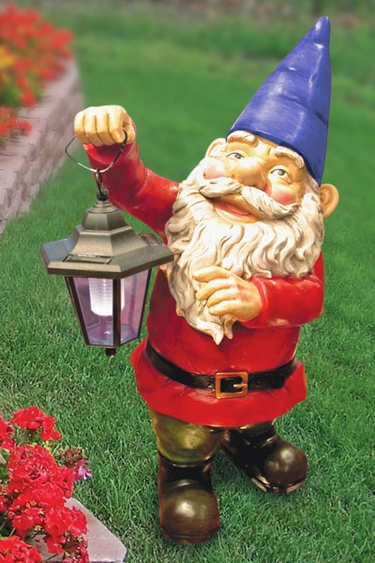 Garden Gnome with Solar Light - Click to enlarge
