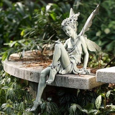 Garden Sitting Fairy - Antique Green - Click to enlarge