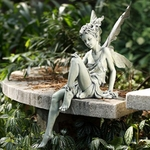 Garden Sitting Fairy - Antique Green