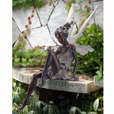 Garden Sitting Fairy - Bronze Finish - Click to enlarge