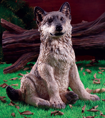 Wolf Pup Garden Statue - Click to enlarge