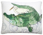 Gator and Egret Outdoor Pillow