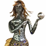 Giant Metallic Mermaid Statue