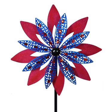 Giant Patriotic Magenta Pink & Blue Wind Spinner - Click to enlarge