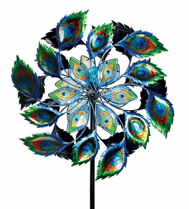 Giant Peacock Spinner Garden Stake - Click to enlarge