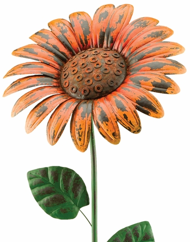 Giant Rustic Orange Daisy Stake (Set of 2) - Click to enlarge