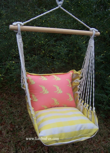 Gingham Yellow Goldfish Hammock Chair Swing Set - Click to enlarge