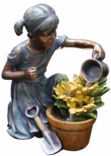 Girl Watering Flower Garden Outdoor Fountain - Click to enlarge