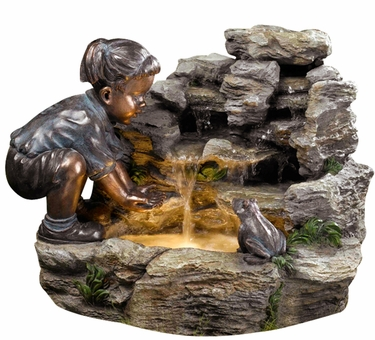 Girl with frog outdoor fountain wled lights only 34999 at garden fun girl with frog outdoor fountain wled lights aloadofball Gallery