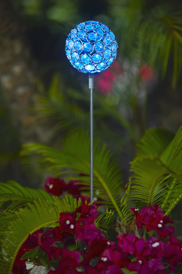 Glam Ball Powered Garden Stake - Blue - Click to enlarge