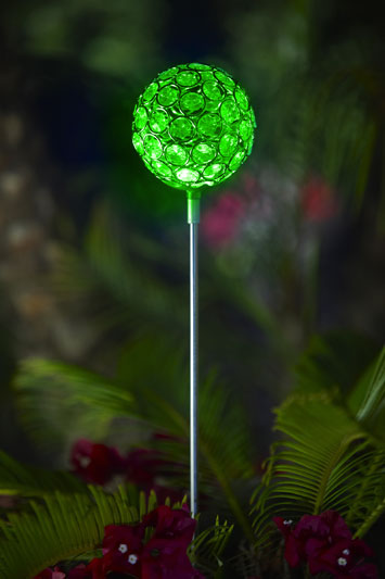 Glam Ball Powered Garden Stake - Green - Click to enlarge