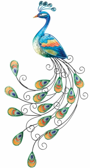 Glass Peacock Wall Decor - Click to enlarge