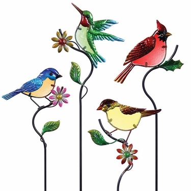Glass Songbird Garden Stakes (Set of 4) - Click to enlarge