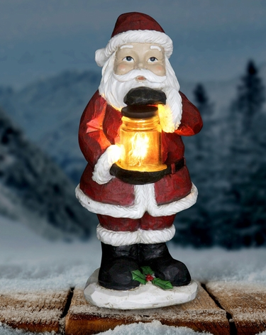 LED Santa w/Jar of Fireflies - Battery Powered - Click to enlarge