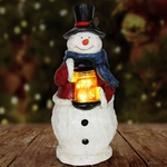 LED Snowman w/Jar of Fireflies - Battery Powered