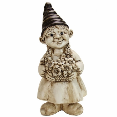 Gnome Girl w/Flowers - White Wash - Click to enlarge