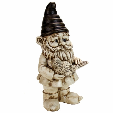 Gnome w/Bird - White Wash - Click to enlarge