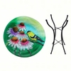 Goldfinch Glass Birdbath w/Stand