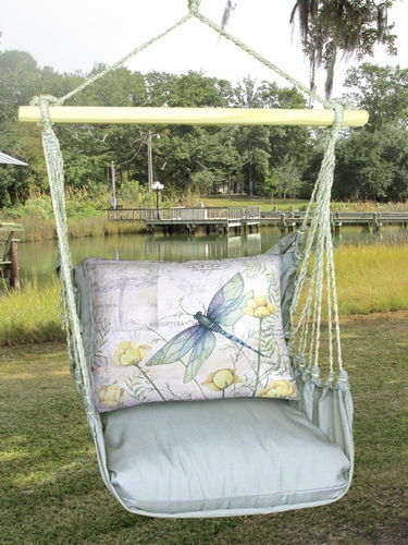 Gray Dragonfly w/Poppies Hammock Chair Swing Set - Click to enlarge