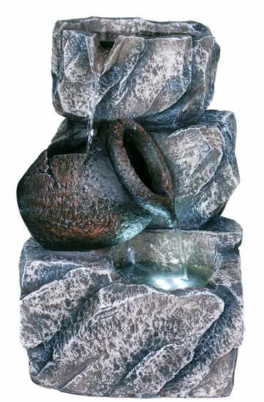 Gray Rock Lighted Tabletop Fountain - Click to enlarge