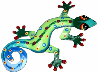 Green Blue Gecko Wall Decor - Click to enlarge