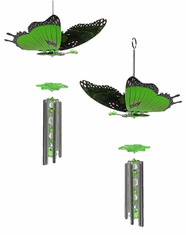 Green Butterfly Wind Chimes (Set of 2) - Click to enlarge