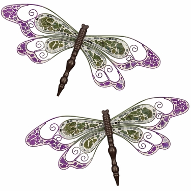 Green Mosaic Wall Dragonflies (Set of 2) - Click to enlarge