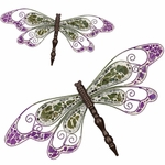 Green Mosaic Wall Dragonflies (Set of 2)