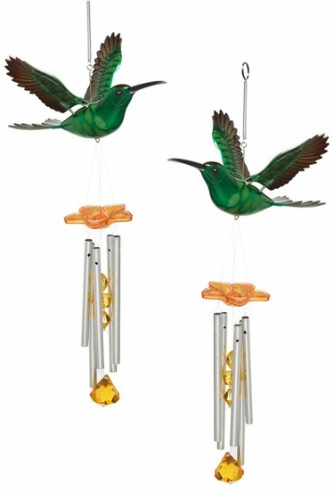 Green/Orange Hummingbird Wind Chimes (Set of 2) - Click to enlarge