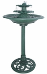 Green Tiered Birdbath Garden Fountain