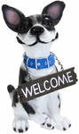 Grinning Dog w/Welcome Sign