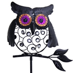 "34"" Black Owl Filigree Garden Stake"