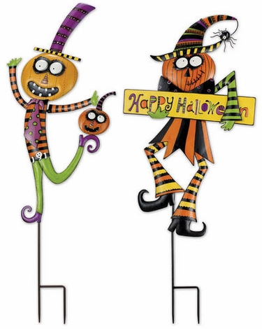 Halloween Pumpkin Stakes (Set of 2) - Click to enlarge
